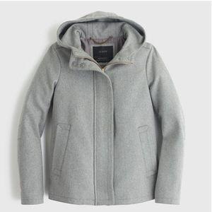 [J. Crew] Gray Hooded Melton Wool Zip Up Coat